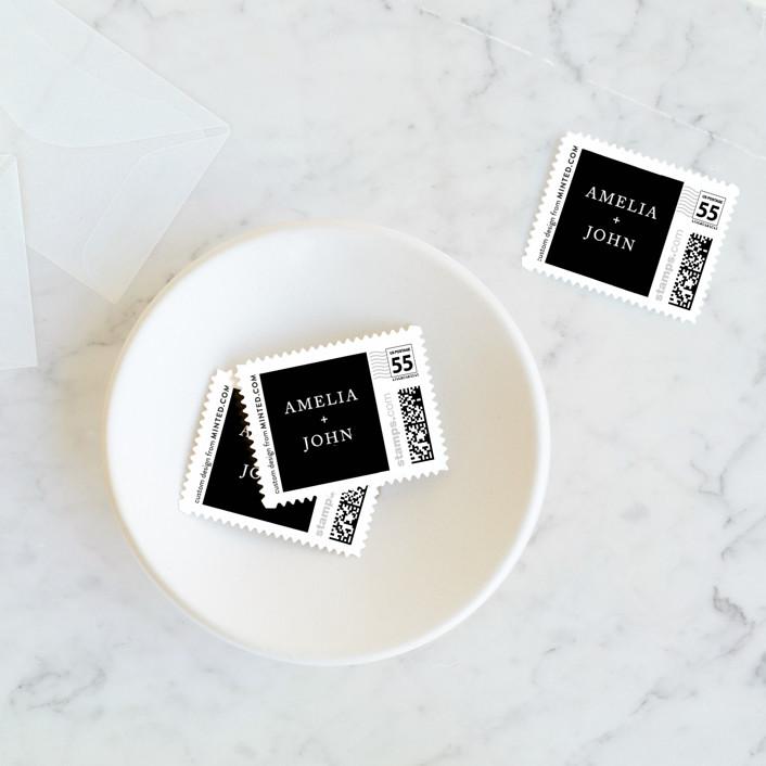 """""""Simply Modern"""" - Modern Wedding Stamps in Jade by Something Noir."""