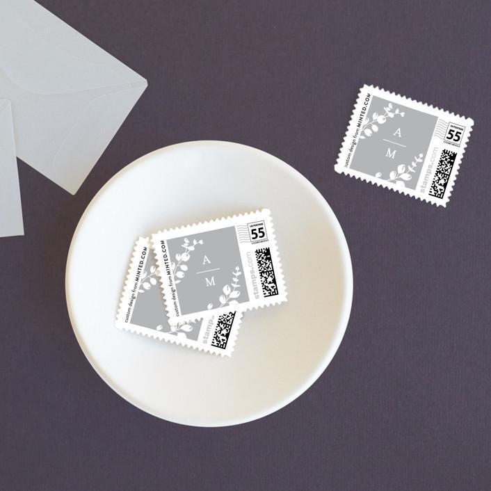 """Eucalyptus Monogram"" - Wedding Stamps in Pewter by Carolyn MacLaren."