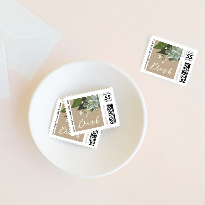 """""""Citrus & Greens"""" - Wedding Stamps in Linen by Susan Moyal."""