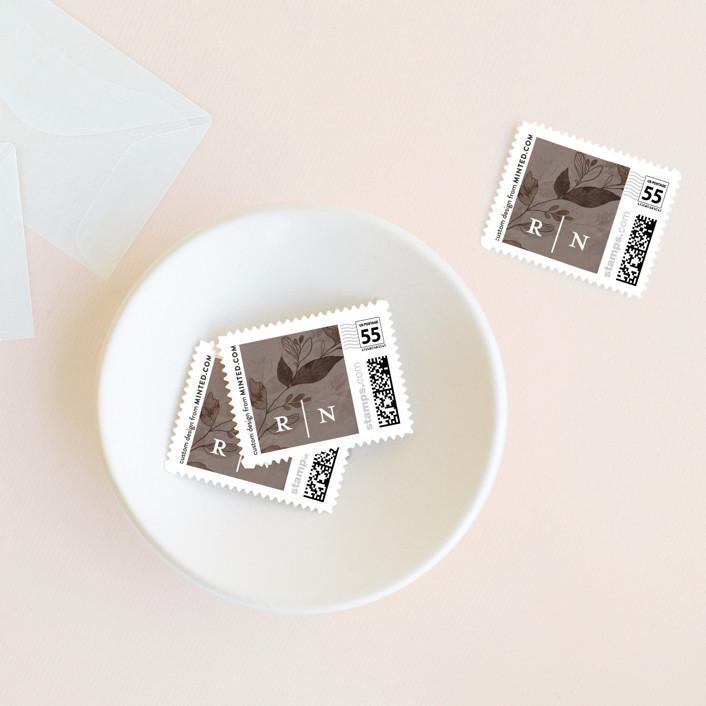 """""""Midnight Vines"""" - Wedding Stamps in Navy by Grace Kreinbrink."""