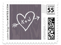 This is a purple wedding stamp by Hooray Creative called Garden Lights with standard printing on adhesive postage paper in stamp.