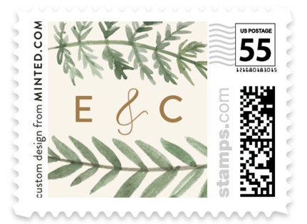 Painted Ferns Wedding Stamps