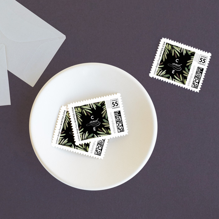 """Parting Branches"" - Wedding Stamps in Midnight by Haley Warner."