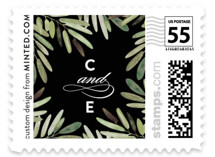 This is a black wedding stamp by Haley Warner called Parting Branches with standard printing on adhesive postage paper in stamp.