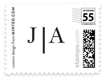 This is a white wedding stamp by Snow and Ivy called Sophistotype with standard printing on adhesive postage paper in stamp.