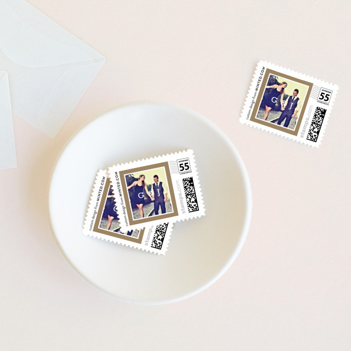 """Modern Photo Frame"" - Wedding Stamps in Gold by Hooray Creative."