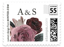 This is a purple wedding stamp by Cass Loh called floral corner with standard printing on adhesive postage paper in stamp.