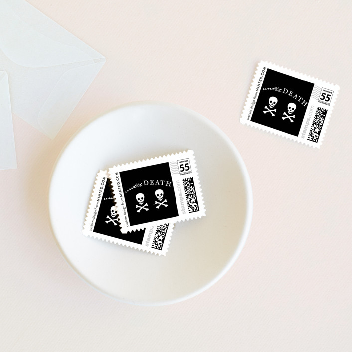 """""""Til Death Do Us Part"""" - Whimsical & Funny, Simple Wedding Stamps in Tuxedo by Design Lotus."""