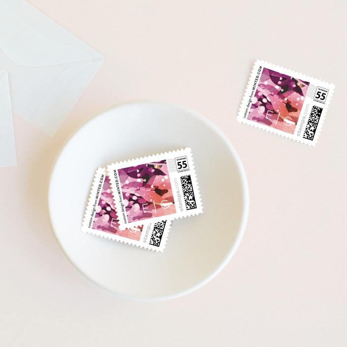 """Flourishing Edge"" - Rustic Wedding Stamps in Jewels by Grace Kreinbrink."