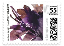 This is a purple wedding stamp by Lori Wemple called Shimmer with standard printing on adhesive postage paper in stamp.