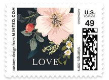 This is a blue wedding stamp by Susan Moyal called Spring Botanicals with standard printing on adhesive postage paper in stamp.