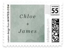 This is a green wedding stamp by Elly called Minimal Abstract with standard printing on adhesive postage paper in stamp.