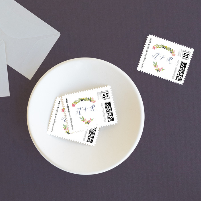 """""""Watercolor Wreath"""" - Wedding Stamps in Grapefruit by Yao Cheng Design."""