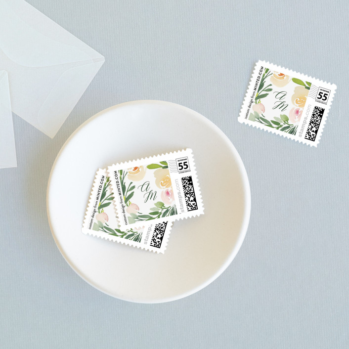 """Eucalyptus Wreath"" - Wedding Stamps in Eucalyptus by Yao Cheng Design."