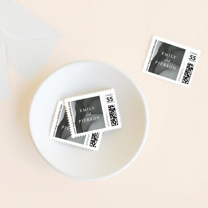 """""""dreamy watercolors"""" - Modern Wedding Stamps in Lavender by Erin Deegan."""