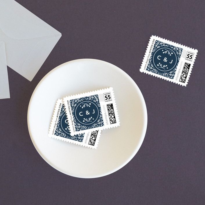 """Floral Frame Square"" - Wedding Stamps in Navy by Lori Wemple."