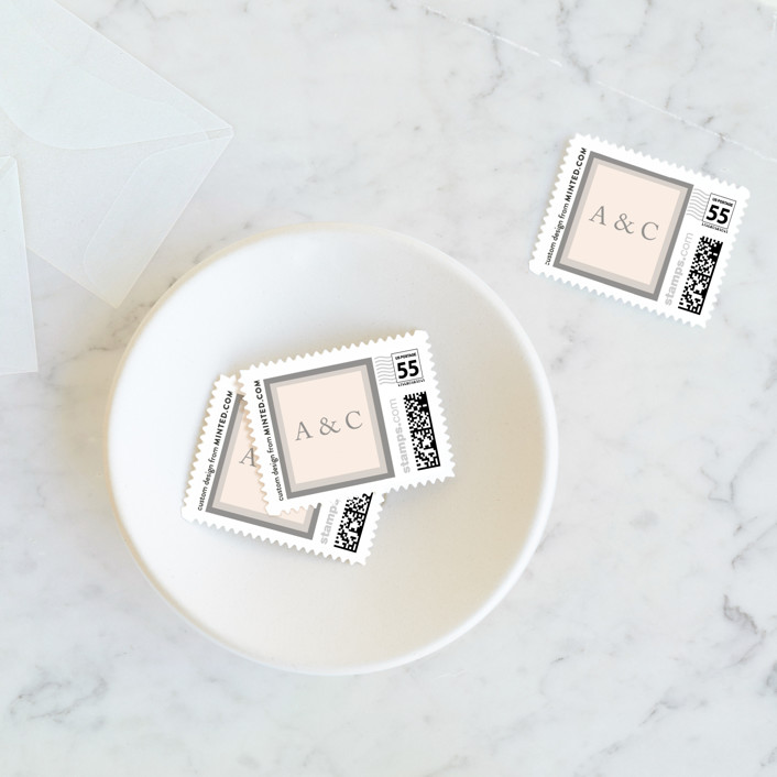 """Vintage Photo Frame"" - Wedding Stamps in Puddle by Katharine Watson."