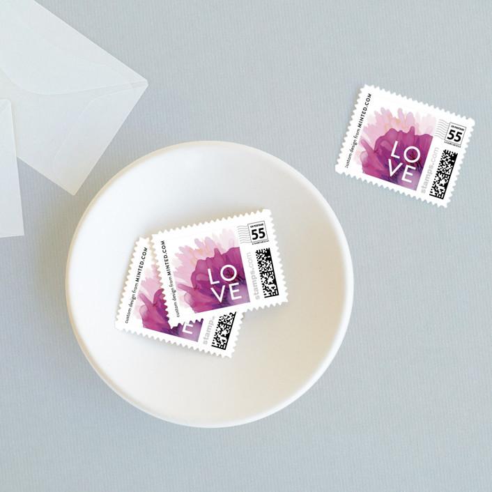 """Ethosien"" - Wedding Stamps in Majestic by GeekInk Design."