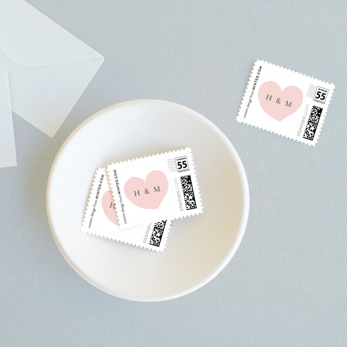 """Bare Love"" - Modern Wedding Stamps in Blush by Sara Hicks Malone."