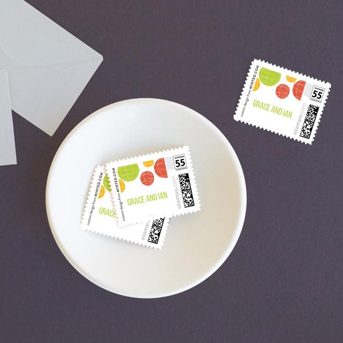 """Summer Lanterns"" - Bohemian Wedding Stamps in Key Lime by Design Lotus."