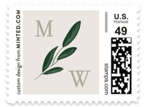 This is a green wedding stamp by Kaydi Bishop called Watermark with standard printing on adhesive postage paper in stamp.