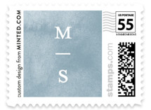 This is a blue wedding stamp by Liz Conley called Painted Ikat with standard printing on adhesive postage paper in stamp.