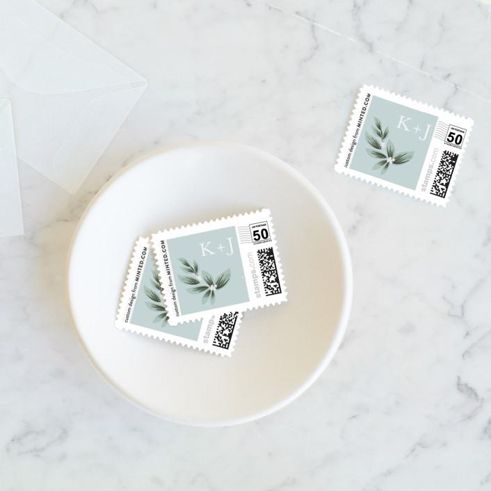 """Laurels Frame"" - Wedding Stamps in Greenery by Itsy Belle Studio."