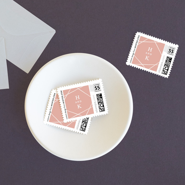 """Abstract Elegant"" - Modern Wedding Stamps in Rose by Belia Simm."