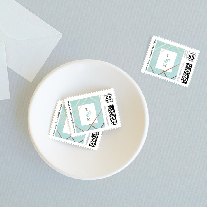 """Watercolor Union"" - Modern Wedding Stamps in Aqua by Genna Cowsert."