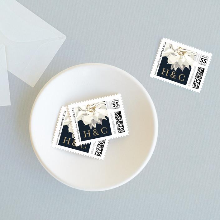 """Peonies & Berries"" - Wedding Stamps in Winter White by Susan Moyal."