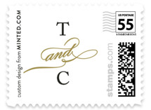 This is a gold wedding stamp by Kimberly FitzSimons called Timeless Grace with standard printing on adhesive postage paper in stamp.