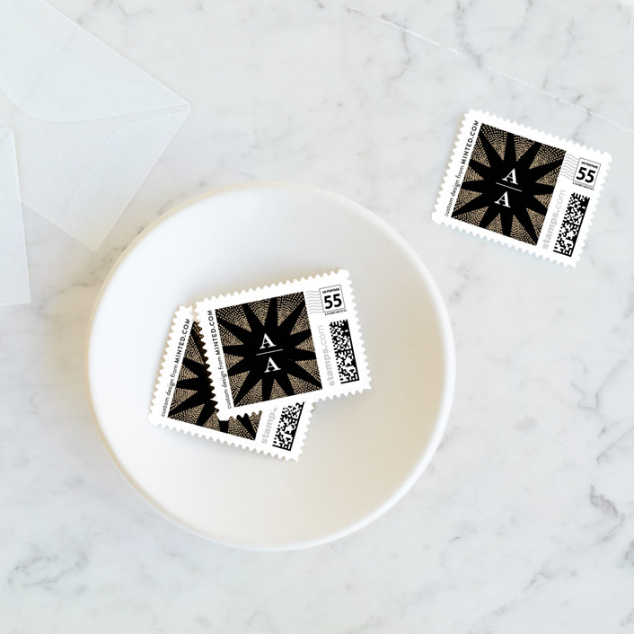 """""""Starburst"""" - Vintage Wedding Stamps in Noir by Alethea and Ruth."""