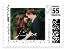 This is a grey wedding stamp by Stacey Meacham called Golden Fleck with standard printing on adhesive postage paper in stamp.