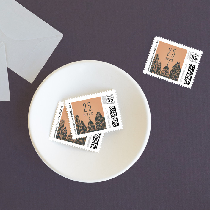 """Big City - Austin"" - Wedding Stamps in Peach by Hooray Creative."
