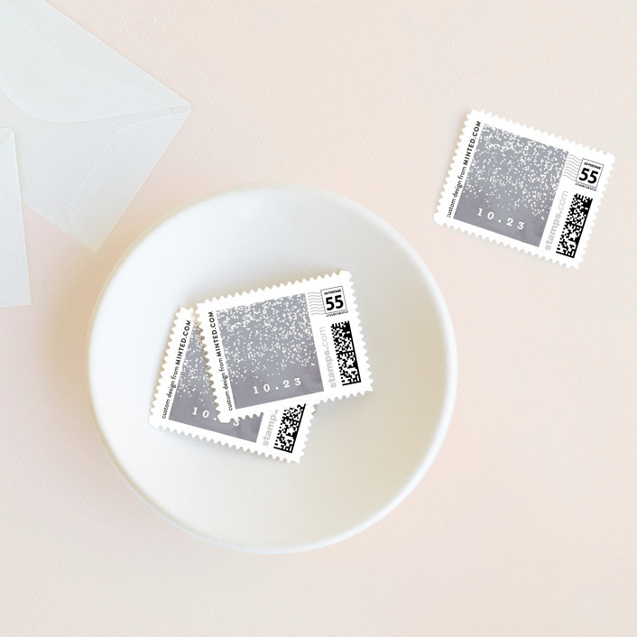 """""""Dusted"""" - Wedding Stamps in Pale Ice by Everett Paper Goods."""