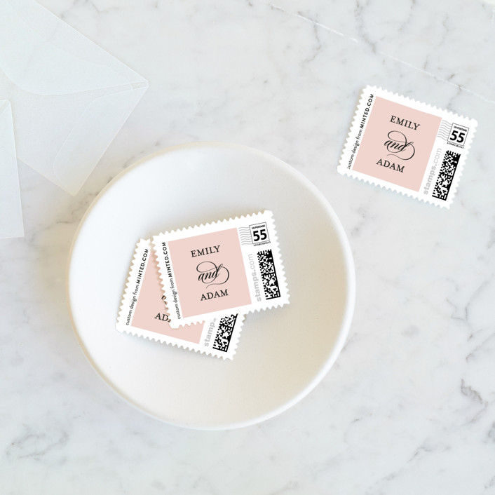 """""""Classic Bars"""" - Wedding Stamps in Peachy by Kasia Labocki."""
