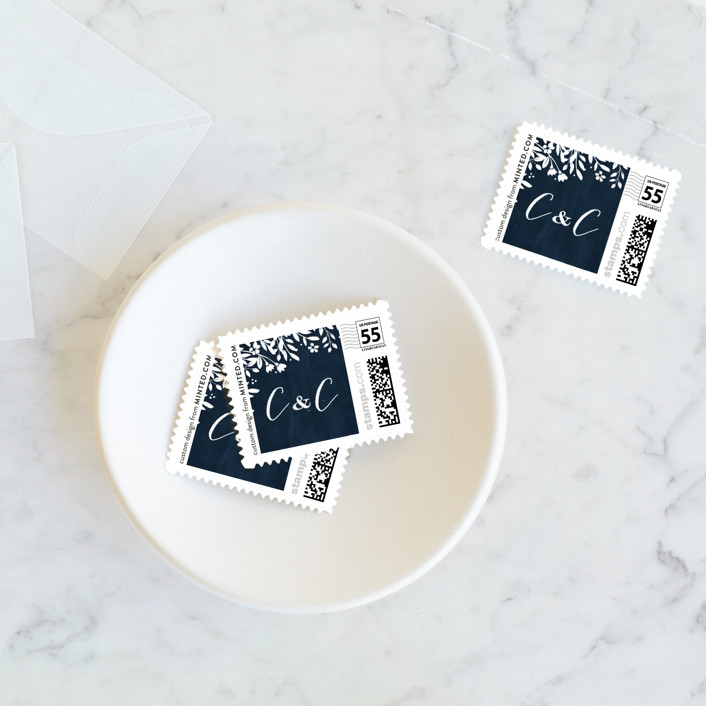 """""""Sun Prints"""" - Rustic Wedding Stamps in Midnight by Jennifer Wick."""