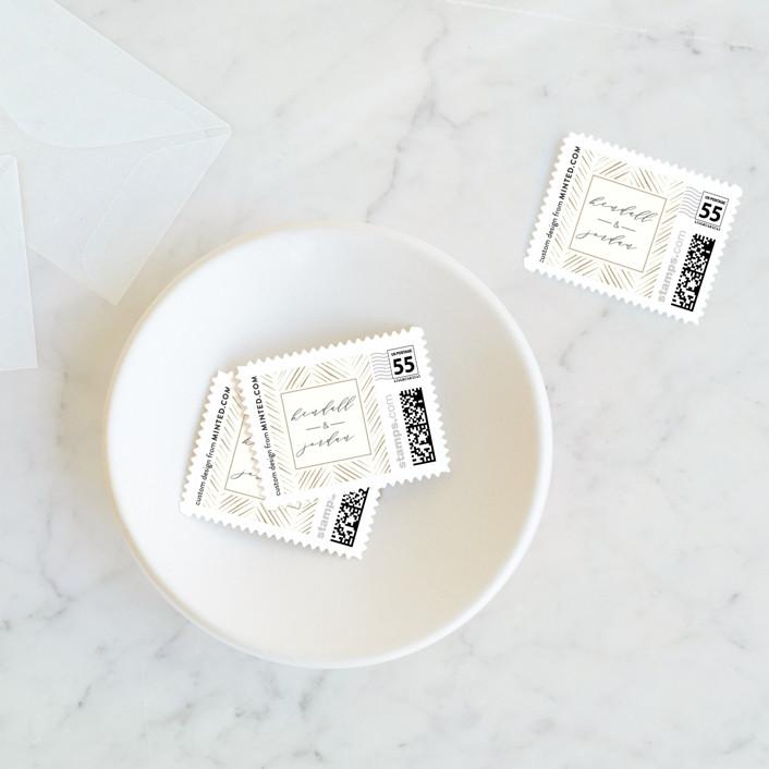 """""""elegant herringbone"""" - Bohemian Wedding Stamps in Cream by Carolyn Nicks."""