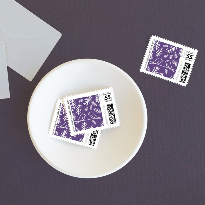"""""""Birds of a Feather"""" - Whimsical & Funny Wedding Stamps in Plum by R studio."""