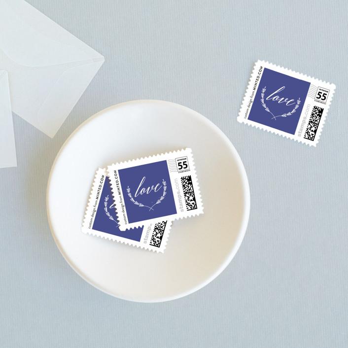 """United"" - Wedding Stamps in Cobalt by Susan Brown."
