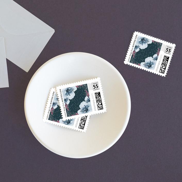 """Winter Deer"" - Rustic Wedding Stamps in Ice Mist by Cass Loh."