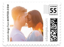 This is a white wedding stamp by Minted Custom called The Big Picture with standard printing on adhesive postage paper in stamp.