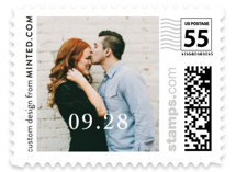 This is a grey wedding stamp by Giselle Zimmerman called The Simple Things with standard printing on adhesive postage paper in stamp.