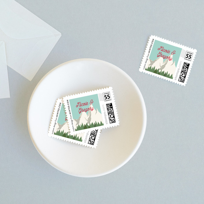 """Travel With Us"" - Destination Wedding Stamps in Apple by Erin Niehenke."