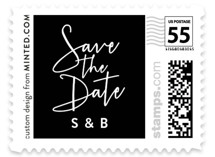 This is a white wedding stamp by Hooray Creative called Stylish Script with standard printing on adhesive postage paper in stamp.