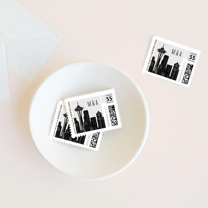 """Big City - Seattle"" - Modern, Bold typographic Wedding Stamps in Light Taupe by Hooray Creative."