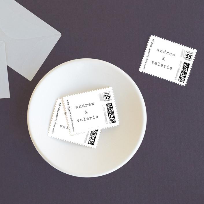 """""""Smitten"""" - Modern, Destination Wedding Stamps in Cement by Sara Hicks Malone."""