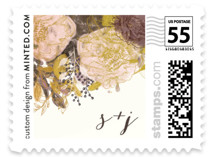 This is a colorful wedding stamp by Phrosne Ras called Floral Runner with standard printing on adhesive postage paper in stamp.