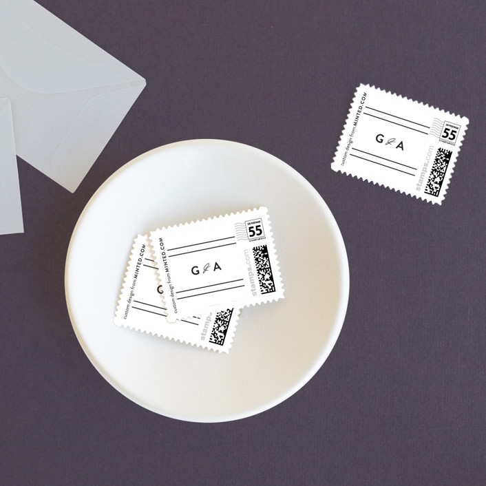"""""""Simple Date"""" - Modern, Classical Wedding Stamps in Frosting by peony papeterie."""