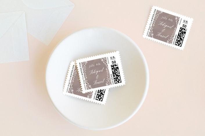 """""""Garland Frame"""" - Rustic, Floral & Botanical Wedding Stamps in Nutmeg by Jennifer Lew."""